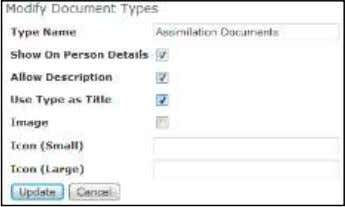 Type 3) Complete fields, as desired. New Document Details  Type Name – Enter a name