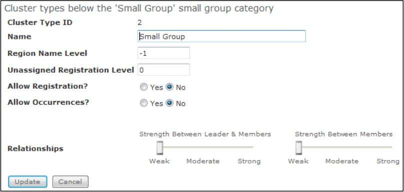 the Cluster Type edit icon . Small Group Peer Strength 4) Set Relationships strength by moving