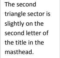 The second triangle sector is slightly on the second letter of the title in the masthead.