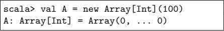 scala> val A = new Array[Int](100) A: Array[Int] = Array(0, 0)