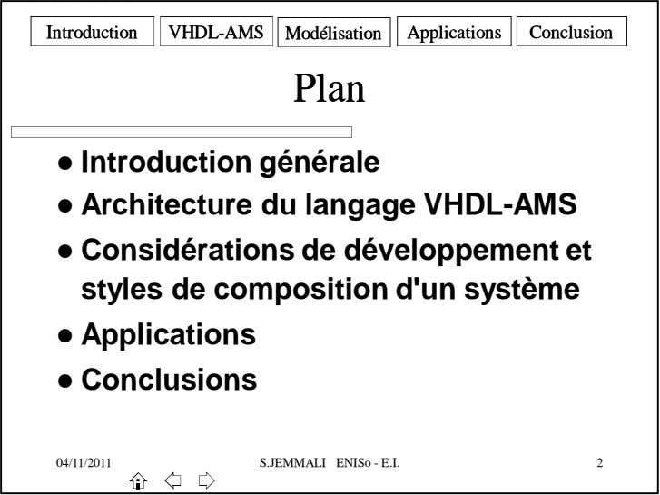 IntroductionIntroduction VHDLVHDL--AMSAMS ModélisationModélisation ApplicationsApplications ConclusionConclusion