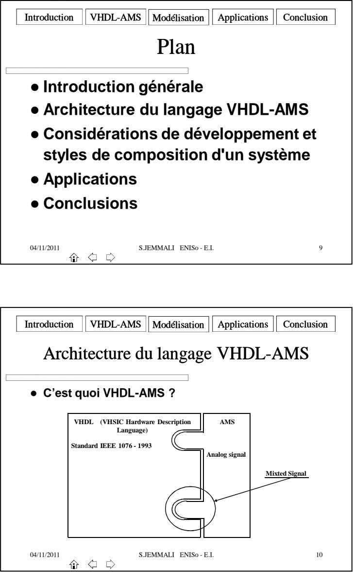 IntroductionIntroduction VHDLVHDL--AMSAMS VHDLVHDL--AMSAMS ModélisationModélisation ApplicationsApplications