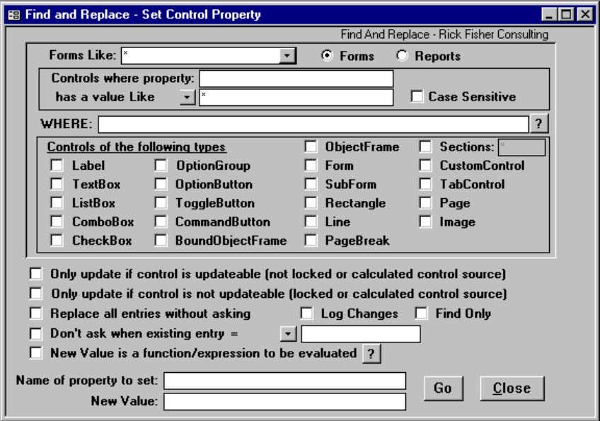 "Set Control Property Wizard The Find and Replace ""Set Control Property"" wizard is a powerful way"