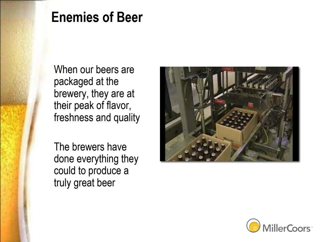 Enemies of Beer When our beers are packaged at the brewery, they are at their