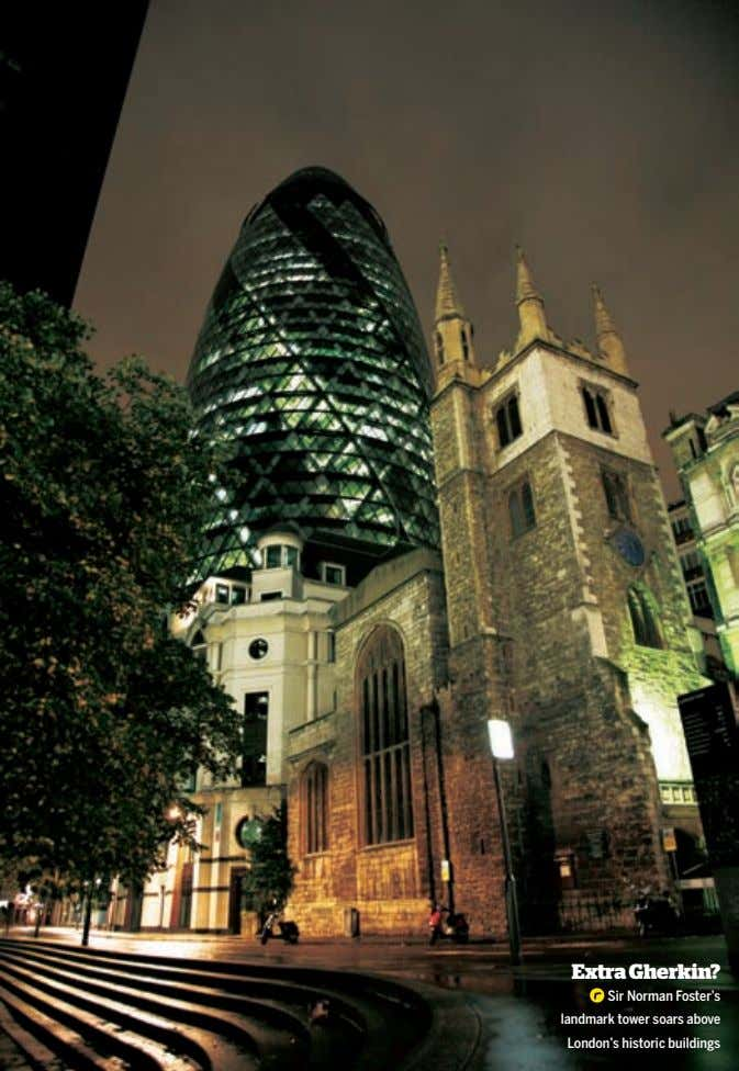 Extra Gherkin? Sir Norman Foster's landmark tower soars above London's historic buildings