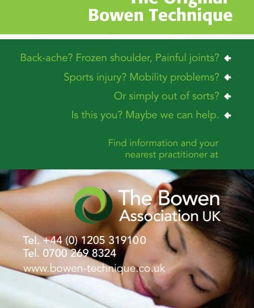 Back-ache? Frozen shoulder, Painful joints? Sports injury? Mobility problems? Or simply out of sorts? Is
