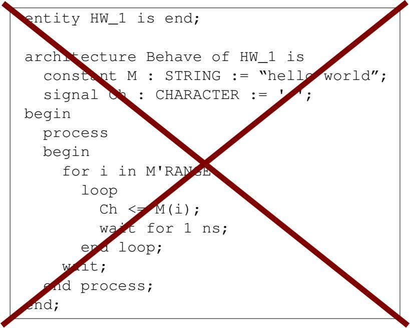 "entity HW_1 is end; architecture Behave of HW_1 is constant M : STRING := ""hello"