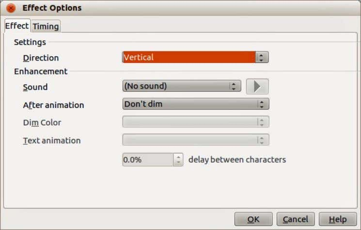 the Effect Options dialog (Figure 102) where you can select, Figure 102: Effect Options dialog •