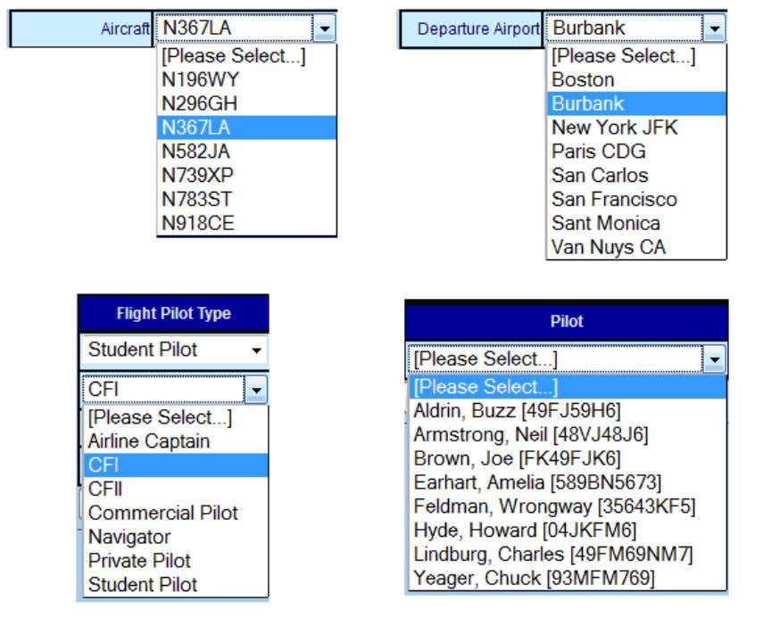 as pull-down menus from which the user may make choices: Figure 8-4: Drop-Down FK List Boxes