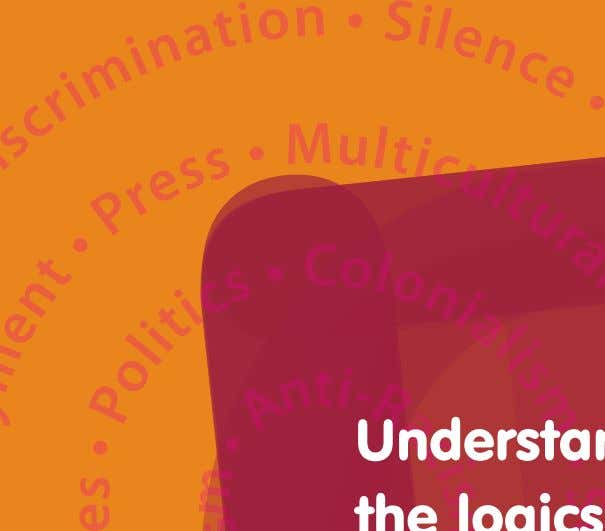 TOLERACE Research project Booklet presenting key findings and recommendations Understanding the logics of racism in