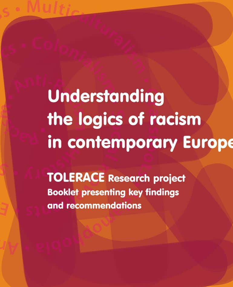 TOLERACE Research project Booklet presenting key findings and recommendations