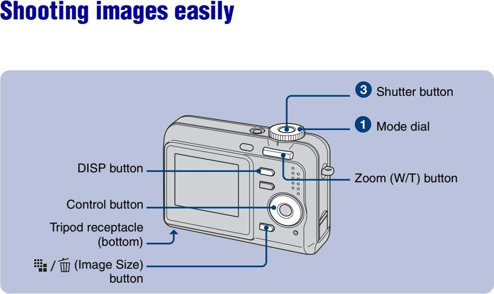 Shooting images easily Shutter button Mode dial DISP button Zoom (W/T) button Control button Tripod
