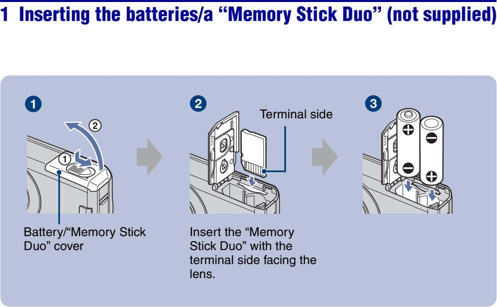 "1 Inserting the batteries/a ""Memory Stick Duo"" (not supplied) Terminal side 2 1 Battery/""Memory Stick"