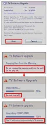 in Folder f. Insert USB memory drive into USB port on TV Note) If current software