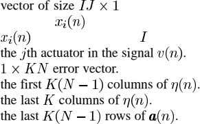 vector of size the th actuator in the signal error vector. . the first columns