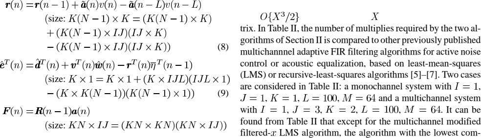 size: (8) size: trix. In Table II, the number of multiplies required by the two