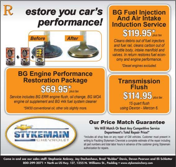 RRestore you car's performance! BG Fuel Injection And Air Intake Induction Service $119.95* plus tax