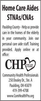 HomeCareAides STNAs/CNAs Paulding County - Help us provide care in the homes of the elderly