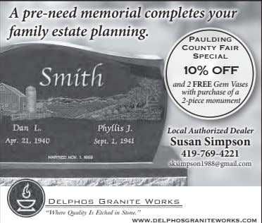 A pre-need memorial completes your family estate planning. Paulding County Fair Special 10% OFF and