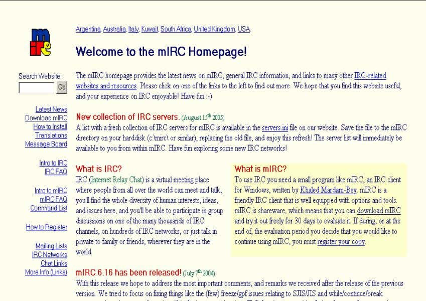 Figure 1. The mIRC Homepage. As you can s ee, you can Download mIRC, read