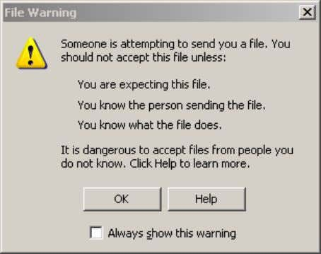 a file, even if you turned auto-get on, you'll get a File Warning pop-up: Figure 12.