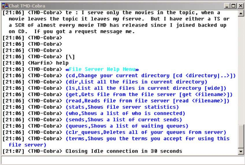 Figure 20. An fserve DCC chat window. Once you type the trigger, the chat window