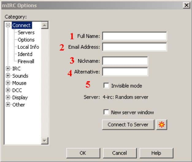 Figure 2. The basic mIRC Options menu. 1. Enter a fake name or a brief