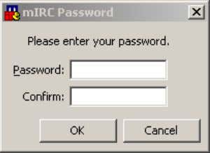 shutdown mIRC from the Task Manager and restart it again. Figure 26. mIRC Password configuration box.