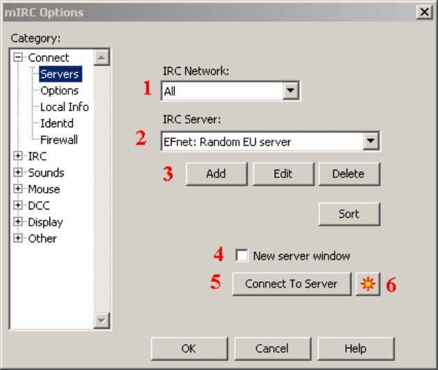 Figure 3. The mIRC Servers menu. 1. An IRC network is a collection of server