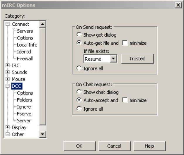 Figure 5. The main DCC options menu. Check the 'Auto-get file' and the 'Auto-accept' radio