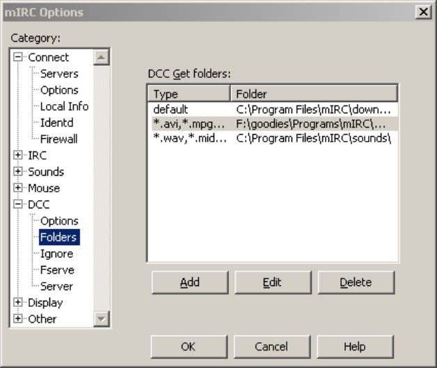 Figure 6. The Folders Configuration menu. If you want to change the default folder fo