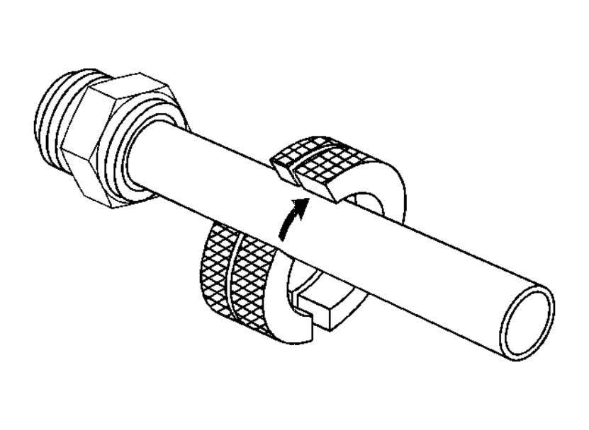 FITTING DISCONNECTION AND CONNECTION Removal Procedure Fig. 14: Installing J 41623 - B Onto Transmission Oil