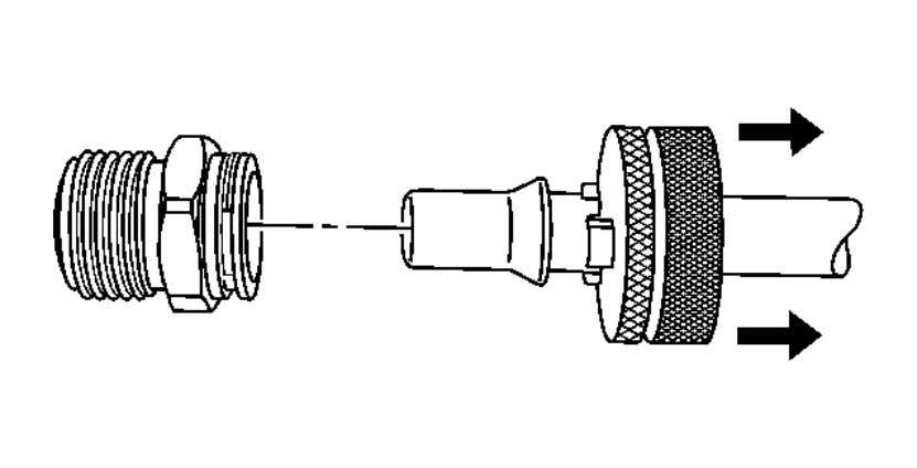 Automatic Transmission - 6L45/6L50/6L80/6L90 - Camaro Fig. 18: Disengaging Pipe From TOC Pipe Fitting Courtesy of