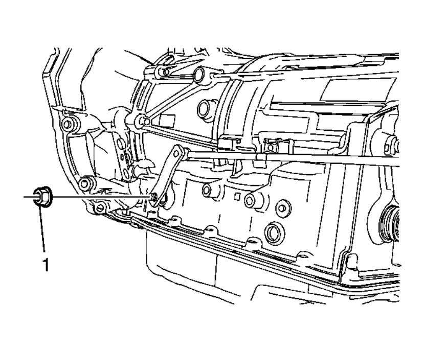 shift control linkage rod from the shift control assembly. Fig. 3: Manual Shift Shaft Nut Courtesy