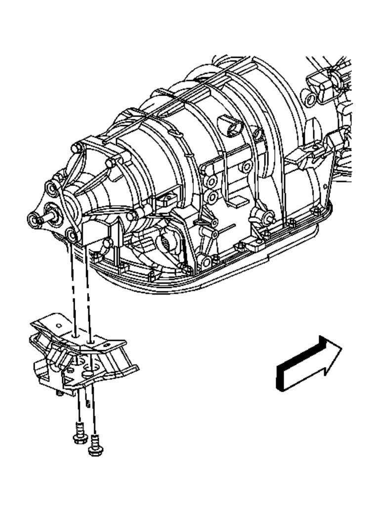 1. Install the transmission mount to the transmission. Fig. 31: Identifying Transmission Mount Bolts Courtesy of