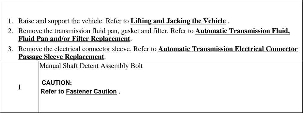 1. Raise and support the vehicle. Refer to Lifting and Jacking the Vehicle . 2.