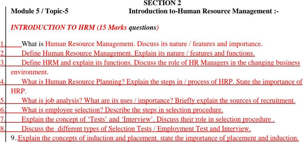 Module 5 / Topic-5 SECTION 2 Introduction to-Human Resource Management :- INTRODUCTION TO HRM (15 Marks