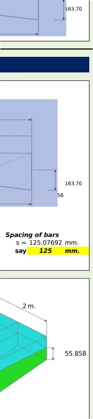 163.70 219.56 163.70 219.56 Spacing of bars s = 125.07692 mm. say 125 mm. 2 m.