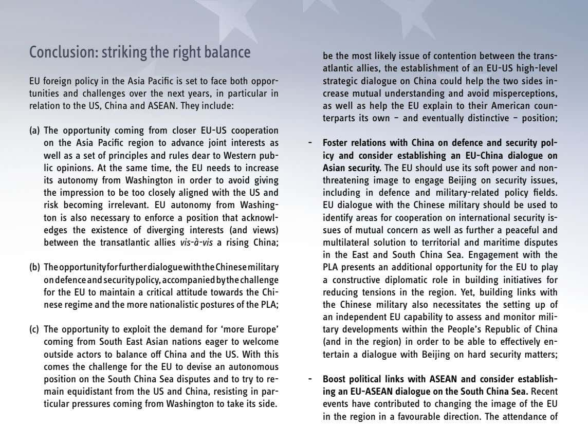 conclusion: striking the right balance EU foreign policy in the Asia Pacific is set to