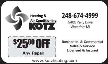 248-674-4999 5405 Perry Drive Waterford MI $ 25 00 OFF Residential & Commercial Sales &