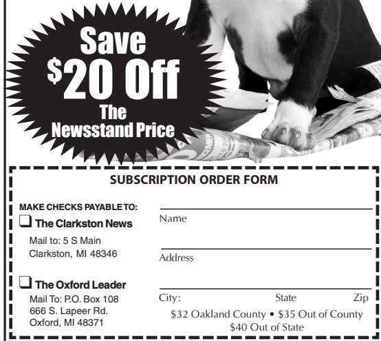 $ 20 Off The Newsstand Price SUBSCRIPTION ORDER FORM MAKE CHECKS PAYABLETO: Name q The