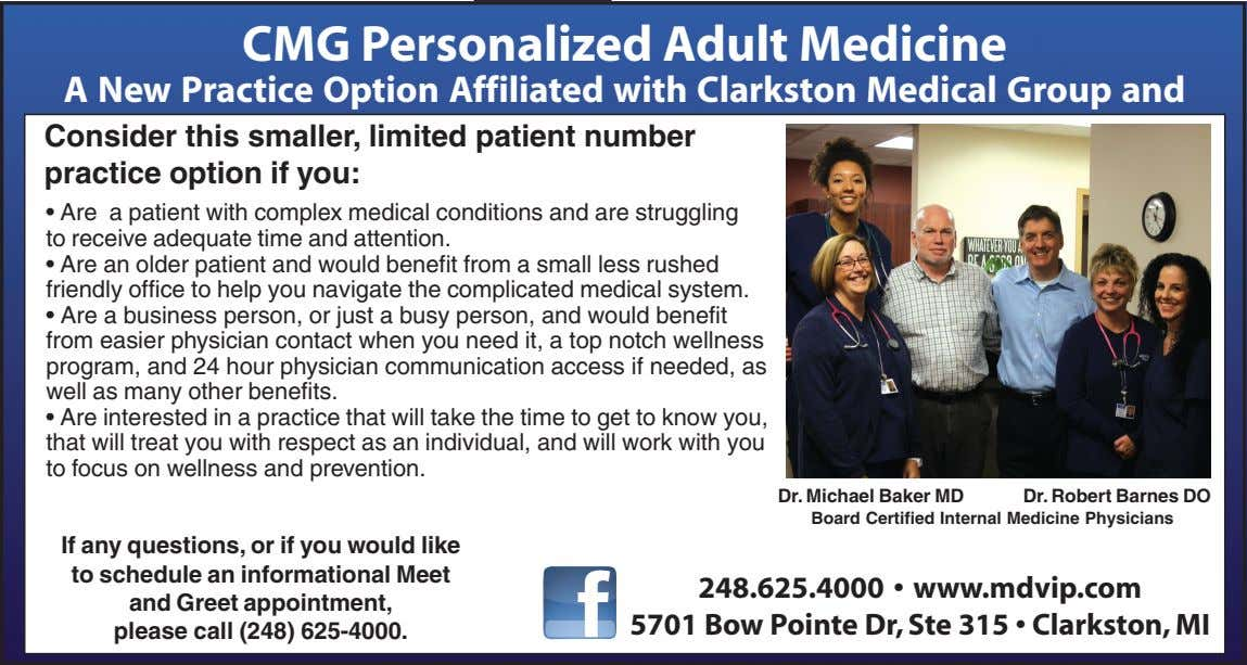 CMG Personalized Adult Medicine A New Practice Option Affiliated with Clarkston Medical Group and MDVIP