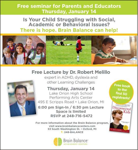 Free seminar for Parents and Educators Thursday, January 14 Is Your Child Struggling with Social,