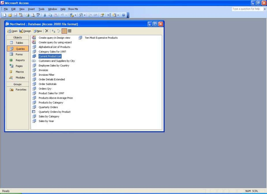 Northwind database window with Current Product List selected Step 2. Press the Design button at the
