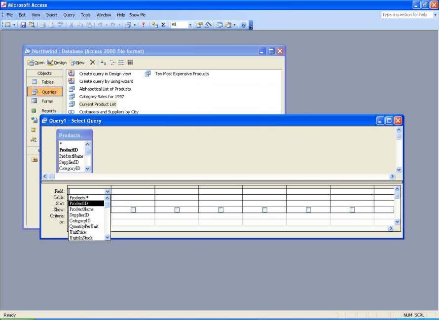 Selecting the ProductID field for display Step 6. Click on the second box of the Field