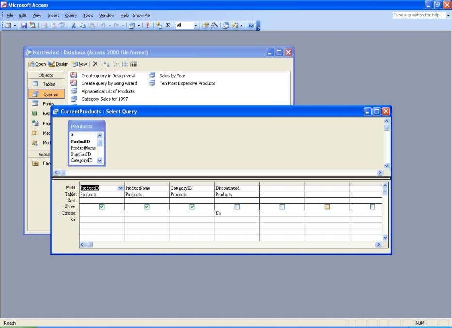 The Design View of the CurrentProducts query Step 2. Click on the Query menu and then