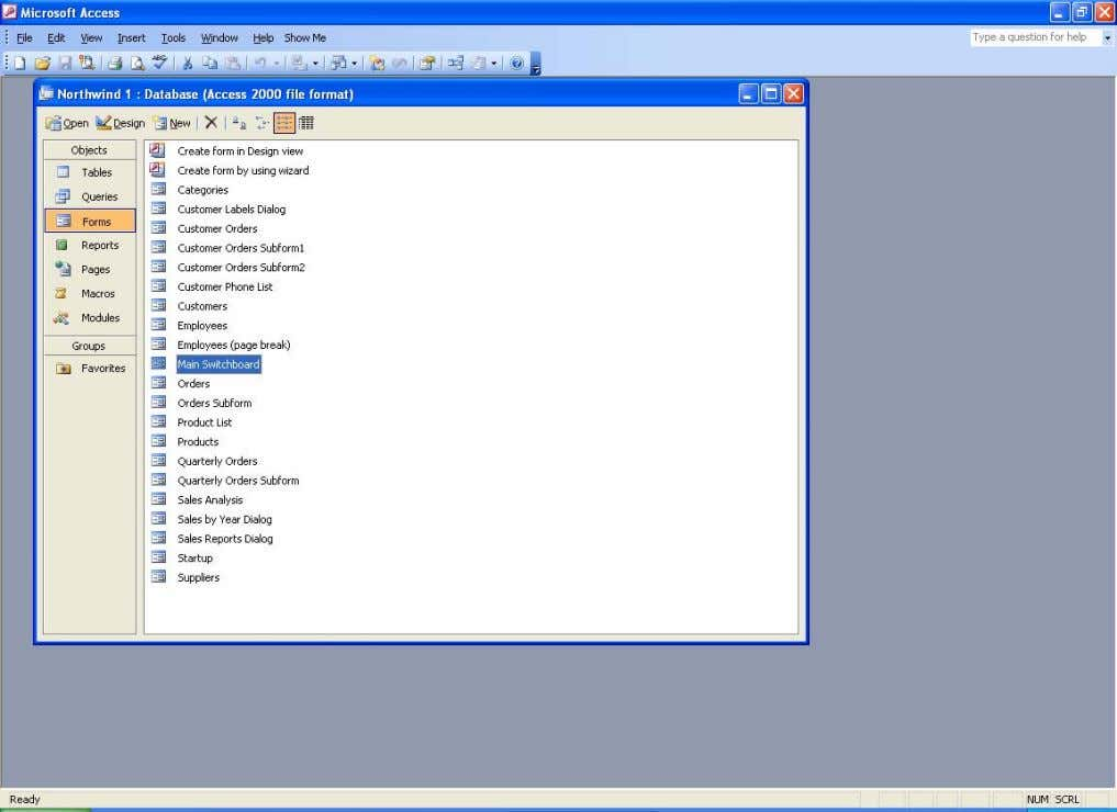 Access. The forms tab of the Northwind database window We are mainly interested in the relational