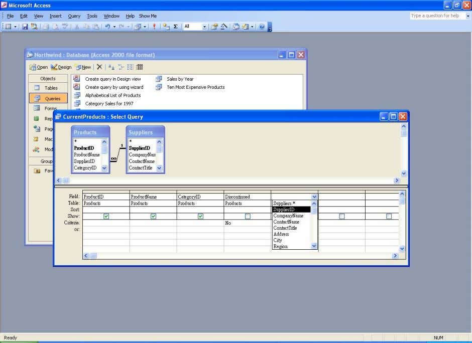 again to display the field choices for the Suppliers table. Select SupplierID . Selecting the SupplierID