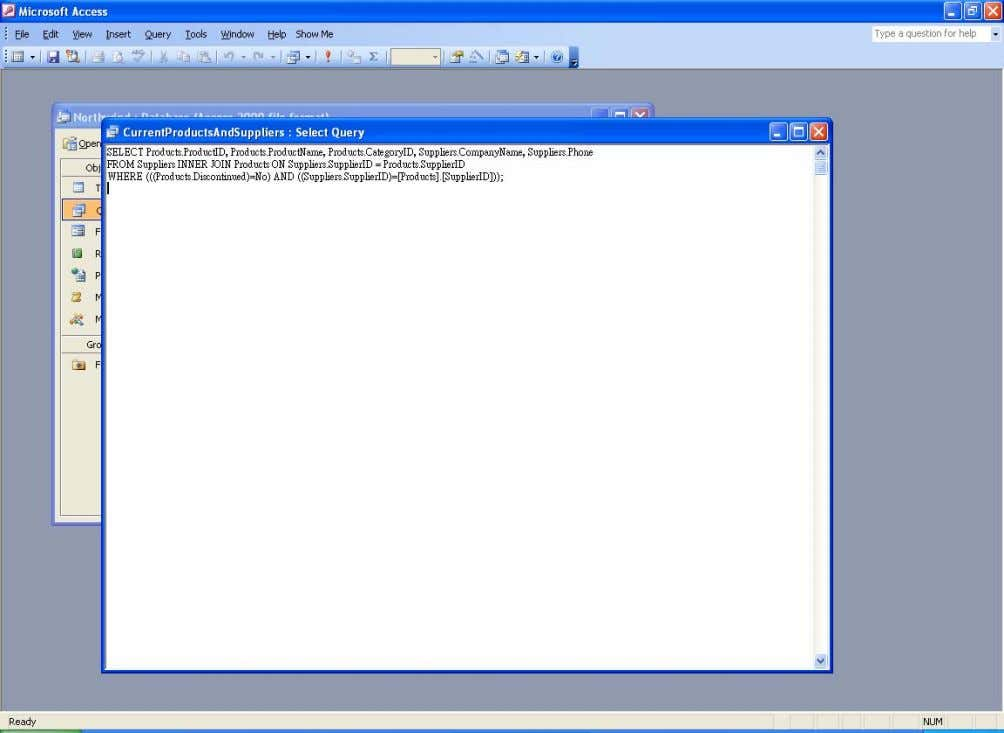The SQL view of the multi-table query Note. The INNER JOIN appears in the SQL because