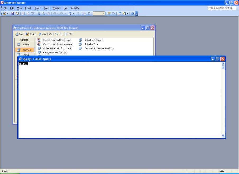 . The new blank query in design view Step 3. Change to SQL view. By now,